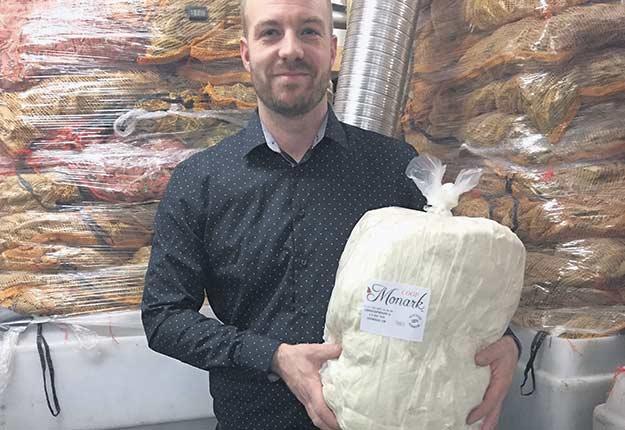 Sabin Tremblay tient un kilo de la fameuse fibre d'asclépiade. Photo : Gracieuseté de Sabin Tremblay