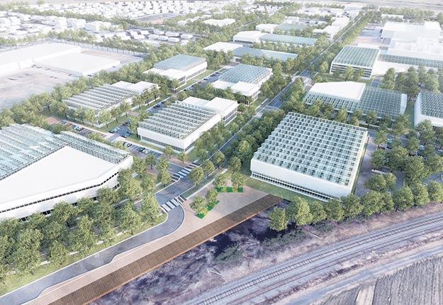 Grâce aux serres sur les toits des bâtiments de la Zone Agtech, un million de pieds carrés de surface agricole seront implantés en zone blanche. Photo : Ville de L'Assomption