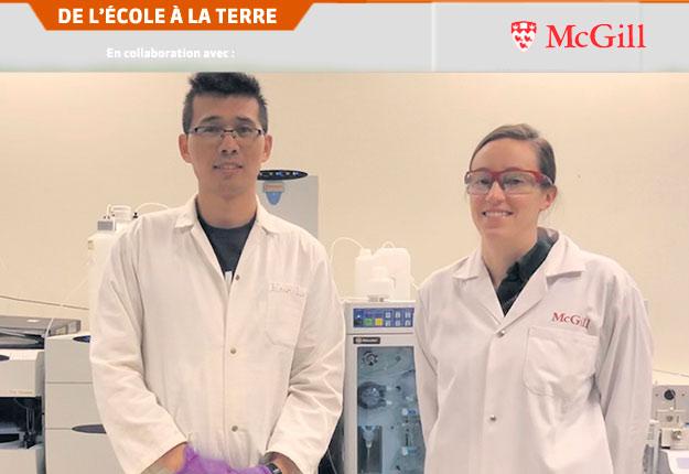 À l'université McGill, l'équipe de la professeure Liu, incluant Dr Bei Yan et Dr Caitlin Glover, développe de nouveaux moyens de détecter les substances perfluoroalkylées et polyfluoroalkylées dans l'environnement. Photo : Université McGill
