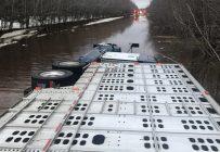 D'importantes accumulations d'eau sur la chaussée ont entraîné le renversement d'un camion transportant des veaux de lait, le matin du 30 mars. Crédit photos : Gracieuseté du Service de sécurité incendie de Saint-Germain-de-Grantham
