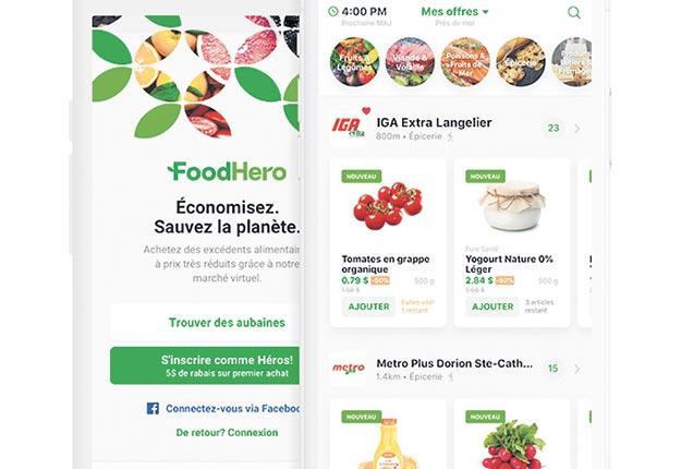 Lancée en 2019, FoodHero a suivi les traces de Flashfood comme application pour réduire le gaspillage alimentaire en épicerie.