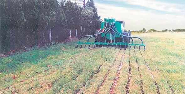 Les rampes d'épandage à pendillards déposent le fumier au sol ce qui permet de réduire davantage la volatilisation et occasionne peu ou pas de pertes ammoniacales.