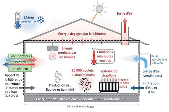 Schéma des gains, pertes et générations de chaleur et d'eau dans un poulailler. Photo : Image tirée de la revue Substance