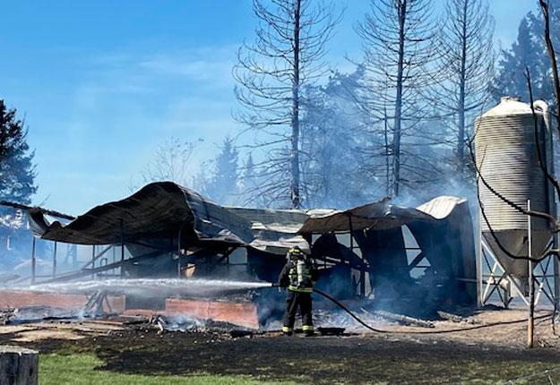 La ferme et la boutique de l'entreprise Le Chevrier du Nord sont pertes totales. Quelques brebis ont par ailleurs péri dans l'incendie. Photo : Gracieuseté de la municipalité de St-Fulgence