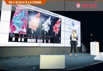 Morgan Crowley a présenté son projet de recherche au sommet Google Earth Engine User à Dublin, en Irlande, en 2018. Photo : Google Earth Outreach