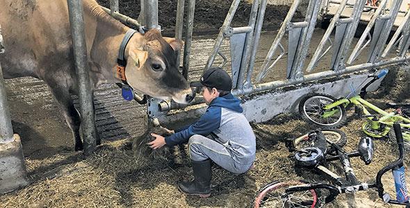 Tous les enfants de la famille, même les plus jeunes, apportent leur aide à la ferme.