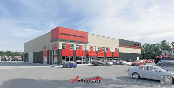 Le nouveau bâtiment aura une superficie de 19500 pieds carrés et comprendra une section atelier, une partie pour les pièces et une pour les ventes.