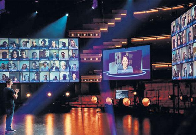 Toute la soirée, l'animateur du gala virtuel pourra s'adresser aux spectateurs, qu'il verra lui aussi, sur son écran. Photo : Gracieuseté de l'UPA