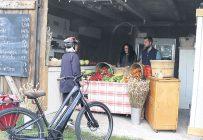 Chaque semaine, Claire Dumouchel se rend en vélo au kiosque d'Isabelle LeBlanc et Gabriel Gagnon. Photo : Maurice Gagnon