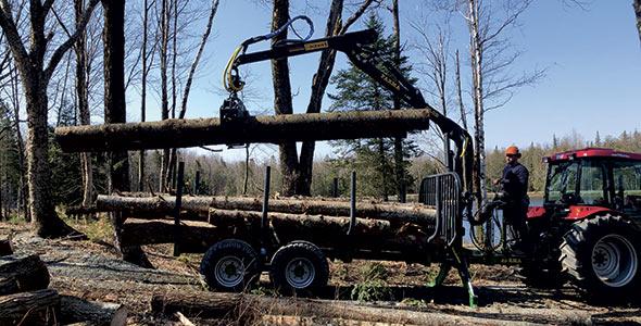 Le relief du terrain est un aspect important dans le choix d'une remorque-chargeuse forestière. Photo : Gracieuseté de Picken's Farm Equipment