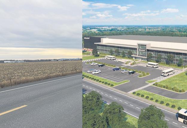 Voici une photo de type avant/après: à gauche, la terre convoitée qui est présentement en culture, et à droite, l'usine qu'Exceldor veut y implanter.