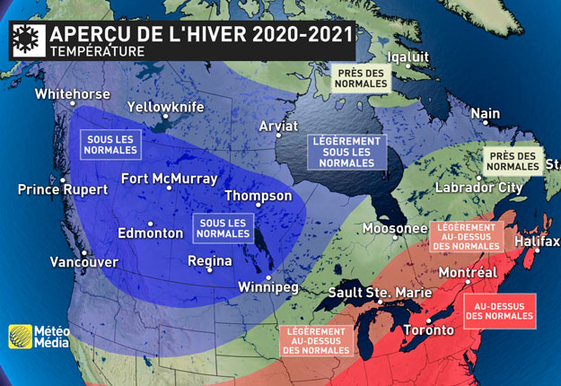 Le phénomène climatique La Niña entraînera des baisses de température à certains endroits cet hiver et des hausses ailleurs, comme au Québec. Crédit : Gracieuseté de MétéoMédia
