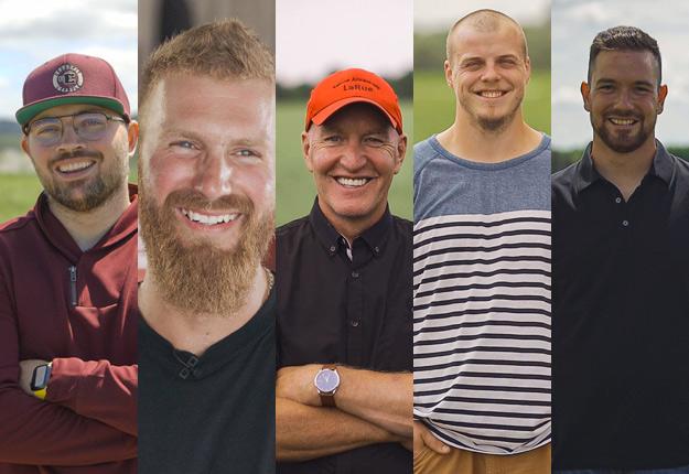 Alex, Julien, Denis, Marc-Antoine et Martin, candidats à l'Amour est dans le pré. Photo : Bell Média