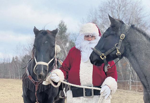 Les chevaux des Écuries Sainte-Anne transporteront le père Noël dans les rues de Sainte-Anne-des-Plaines, le 24 décembre. Photo : Gracieuseté des Écuries Sainte-Anne