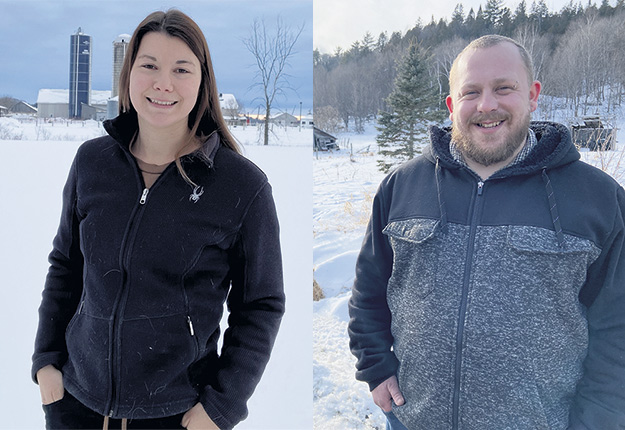 Tous deux bilingues, les travailleurs de rang Arianne Dulac et Mathieu Brûlé sillonneront l'Outaouais pour offrir du soutien psychologique aux agriculteurs. Photo : Gracieuseté d'Écoute agricole