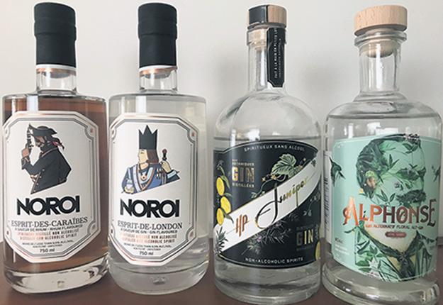 Quelques-uns des produits sans alcool lancés au cours de la dernière année par des distilleries québécoises. Photo : Geneviève Quessy