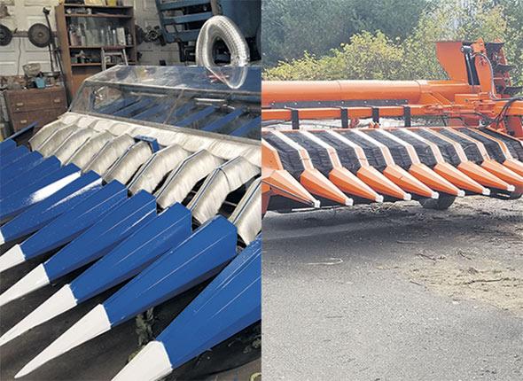 À gauche, le premier prototype de récolteuse installé devant une moissonneuse-batteuse, et à droite, la dernière version, un modèle traîné. Celle-ci sera encore améliorée afin de faire grimper son taux d'efficacité, qui se situe présentement à 80%.