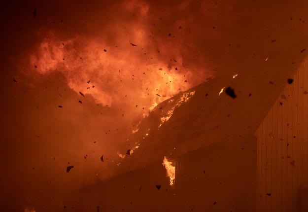 Le bâtiment a été complètement détruit et environ 80 bêtes ont péri. Photos : Steve Jolicoeur