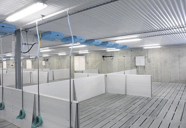 Entrées d'air modulaires en porcherie. Photo : Gracieuseté de Sébastien Turcotte
