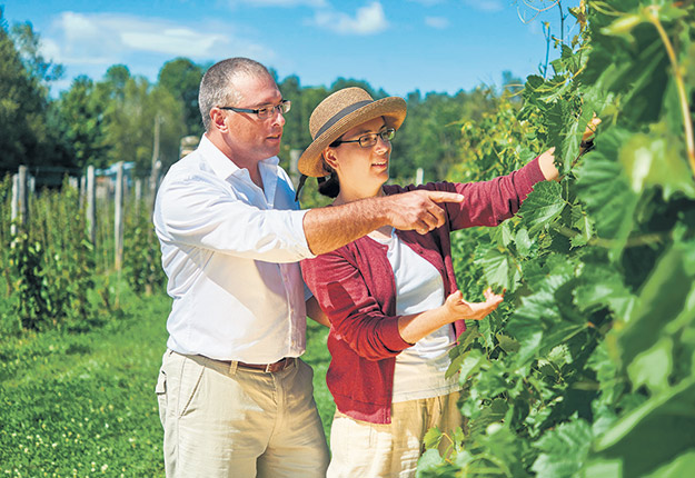 Marc Théberge et Ève Rainville, copropriétaires du Domaine Bergeville, ont concocté un vin mousseux qui symbolisera le 100e anniversaire de la SAQ. Photo : Gracieuseté du Domaine Bergeville