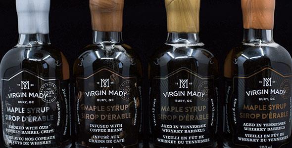 L'ensemble de quatre sirops de spécialité de Virgin Mady est distribué dans un réseau de plus d'une centaine de détaillants au Québec et en Ontario.