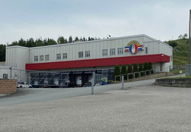 L'usine d'abattage et de transformation de porcs d'Olymel à Vallée-Jonction est vide depuis le 28 avril. Photo : Martine Veillette/TCN