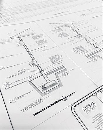 Une fois que le choix du projet est fait, l'équipe de GlobalConcept élabore desplans précis des différents bâtiments et s'assure que tout est conforme auxrèglements environnementaux et municipaux.