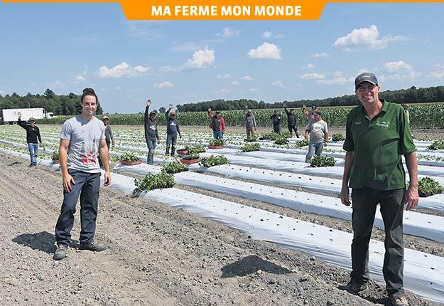 Sylvain Lavoie (à droite) et son fils Étienne sont responsables des travaux aux champs alors que Nathalie Gamelin et sa fille Véronique sont notamment responsables des équipes de vente à la ferme et au marché de Drummondville. Photo : Pierre Saint-Yves