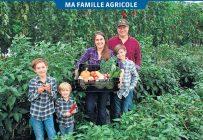 James Thompson, sa conjointe Geneviève Grossenbacher et leurs fils Thomas, Fred et Nicolas. Une trentaine de légumes certifiés biologiques sont cultivés chez Notre petite ferme, allant du chou frisé aux tomates, en passant par les poivrons et les courges. Photos: Francis Legault