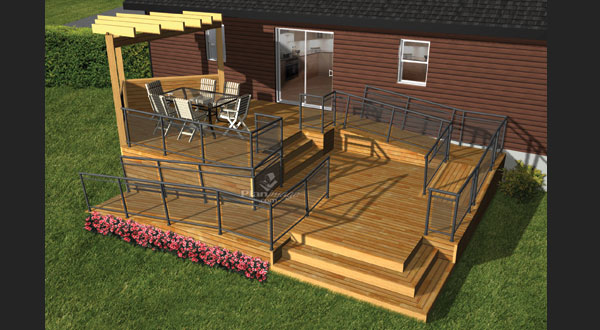 plan de terrasse en bois avec rampe d acc s la terre de chez nous. Black Bedroom Furniture Sets. Home Design Ideas